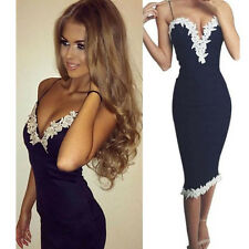 Fashion Women Summer Lace Dress V-neck Sleeveless Party Evening Cocktail Dress D