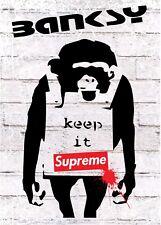SUPREME Poster Banksy Wall Art Monkey Keep it real Large A1 Rare 841mmx594mm