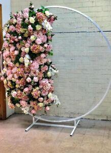 WeddingGeneral White Round Metal Mesh Wedding Arch Frame Moongate -200cm