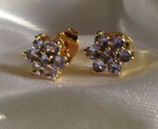 AA, 1Ct, Tanzanite Cluster Earrings, 14K Y Gold Overlay, Sterling Silver