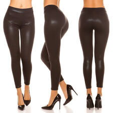 Sexy Basic Leggins Leggings Legging glänzend Wetlook Schwarz  S / M