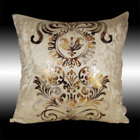 LUXURY SHINY BEIGE GOLD DAMASK VELVET DECO THROW PILLOW CASE CUSHION COVER 17""