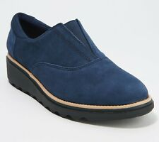 Clarks Collection Suede Slip-On Shoes - Sharon Sail Size 8W  New Navy (1282)