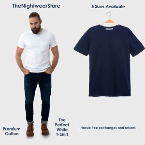 ⭐Men's Plain T Shirt White Navy Crew Neck Men's Short Sleeve Cotton T Shirt⭐