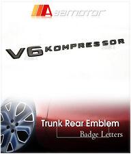 Chrome Black V6 KOMPRESSOR Side Emblem Badge for Mercedes W204 W212 W221 AMG