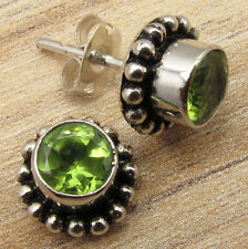 "Natural PERIDOT Gemstones Designer Studs Earrings 0.4"" 925 Silver Plated Metal"