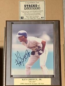 KEN GRIFFEY JR Seattle Mariners Signed Autograph Plaque w/COA Stacks of Plaques
