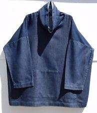 "NEW Eskandar DENIM 70% Cotton, 30% Silk Monk (Cowl Neck) 32"" Long Top (2) $990"