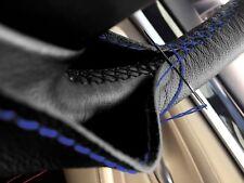 Per VW Polo MK4 05-09 Nero Vera volante in vera pelle copertura blu ST
