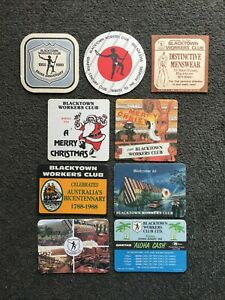 Collectible Beer Coasters - 9 x Blacktown Workers Club