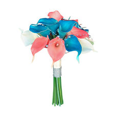 15 Stem Calla Lily Bouquet - Coral and Deep BlueTurquoise Real Touch Calla Lily