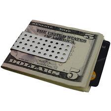 Mens Money Clip Slim - Silver Stainless Steel - Bullet Hole - Cash Holder Gift