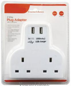 2 Way Gang Multi Plug Extension With 2 USB Charge Ports Wall Mains Adaptor 4 Way