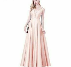 Long Evening Dress Prom Gowns V-Neck Beads Backless A Line Designed Elegant Gown