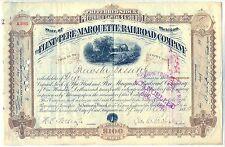 Flint & Pere Marquette Railroad Company Stock Certificate Michigan Brown