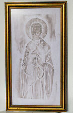 Handmade fabric imprint icon of St.Nicolas Nikolaos Christian Catholic Orthodox
