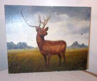 vintage original Gerry Dvorak Folk Art deer buck animal oil painting on canvas