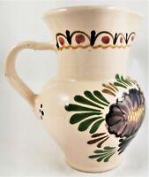Hand Painted Ceramic Pitcher Glazed Vintage Jug Vase Pottery Glaze Flower Floral