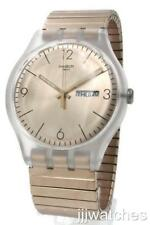 Swatch Original ROSTFREI Rose Gold Extension Day Date Watch 41mm  SUOK707A $80