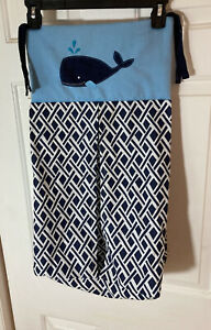 Baby Diaper Stacker Whale Navy Blue Light Blue White Cotton Ties To Hanger