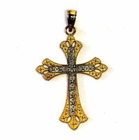 14k yellow gold womens cross pendant charm rhodium 1.67g ladies estate antique