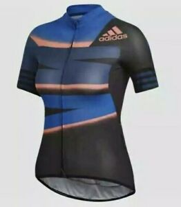 Adidas Fitted Adistar Cycling Jersey FJ6599 Blue/Blk Women's Size- Small $160