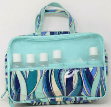 Women's Travel Bag Zippered with 2 Compartments, 5 Bottles & Loofah in Turquoise