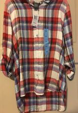 New Womens Large White Red Plaid Roll Up Sleeve Shirt Button Down $68 Hi/Lo M/L*
