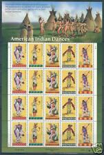UNITED STATES AMERICAN INDIAN DANCES SHEET STAMPS MINT