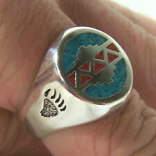 WESTERN BEAR PAW RING colored biker silver ring new BR98R bears claw turquoise