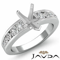 Diamond Engagement Pear Semi Mount Ring Channel Setting 14k White Gold 0.7Ct