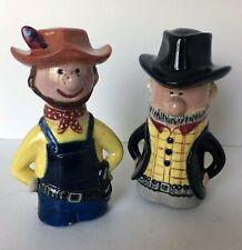 Handpainted Country Western Cowboys Salt & Pepper Set Americana HillBilly Vtg