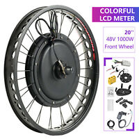 "48V 1000W 20"" Fat Tire w/ LCD Electric Bicycle E-bike Kit Conversion Front Wheel"