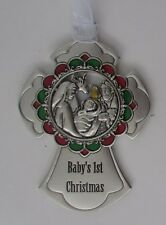 H Baby's 1st Nativity cross BLESSED IS THE SEASON Christmas Ornament ganz