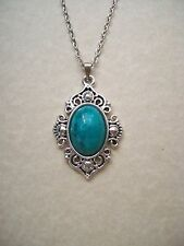 STUNNING ANTIQUE SILVER & GREEN TURQUOISE PENDANT NECKLACE