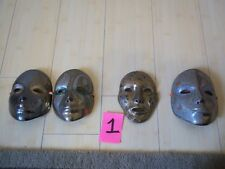 4 SOLID BRASS INDIA MADE WALL HANGING MASKS PAINTED EA DIFFERENT DECORATIVE FUN