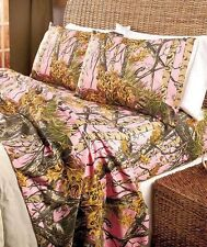 The Woods 4-Pc Pink Camouflage King Sheet Set Hunter Bed Bedroom Home Decor