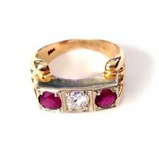 Vintage 14K Yellow Gold Art Deco Diamond and Ruby Ring