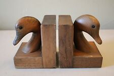 Vintage Wood Carved Wooden Duck Head Book Ends