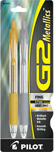 Pilot G2 Metallics Retractable Gel Ink Rollerball Pens in Gold & Silver - Fine