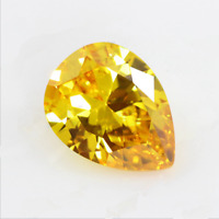 4.96Ct 9x11mm Golden Yellow Sapphire Pear Faceted Cut AAAAA VVS Loose Gemstone