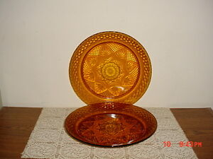"""2-PC CRISTAL D'ARQUES DURAND """"AMBER"""" 10 1/8"""" DINNER PLATE/FRANCE/RARE/FREE SHIP!"""