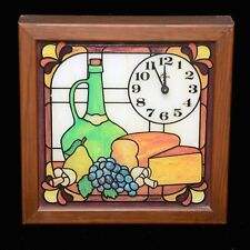 1970s Elgin Stained Colored Glass Wood Frame Quartz Wall Clock Wine Cheese Bread