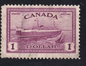 Canada used: 1946 Train Ferry PEI $1 KGV Peace Issue, sc#273