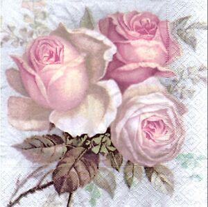 3 Paper Napkins for Decoupage/Scrapbooking/Craft-Vintage Roses Sagen Vintage