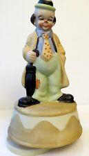 """Vintage Brinn's Porcelain Clown w/Umbrella Revolving Music Box """"Be A Clown"""""""