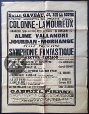 HECTOR BERLIOZ Debussy Chausson Bordes CONCERT Verlaine Baudelaire Affiche 1916