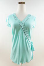 Style & Co. Women's Cap Sleeve V-Neck Embellished Blouse Size S Turquoise