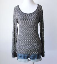 Juniors Geometric Print Scoop Neck Thermal Waffle Knit Ribbed Shirt Blouse Top M