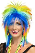 UNISEX 80'S RAINBOW PUNK WIG ADULT SPIKED MULTI-COLOURED DISCO PARTY FANCY DRESS
